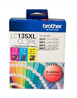 Brother LC-135XL CL 3 Pack Ink Cartridges (Genuine)