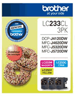 Brother LC-233 Cyan, Magenta, Yellow 3 Pack Ink Cartridges (Genuine)