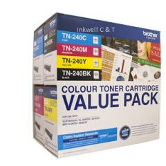 Brother TN-240CL4PK 4 Pack Bk/C/M/Y Toner Cartridges (Genuine)