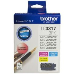BRLC3317VP-240x240 Brother LC-3317 C/M/Y 3 Pack Colour Ink Cartridges (Genuine)