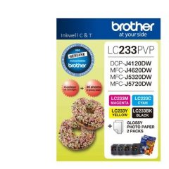 Brother LC-233PVP Bk,C,M,Y 4 Pack Ink Cartridges (Genuine)