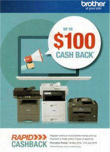 Brother Printer Cash Back 1st May to 31st July 2018