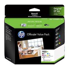 HP 955XL Bk/C/M/Y HI955XLVP Ink Cartridges Value Pack (Genuine)
