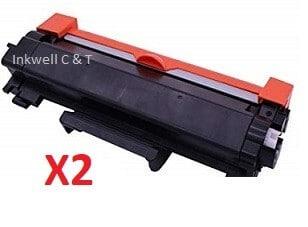 Brother TN-2450 X 2 Black Toner Cartridge (Compatible)