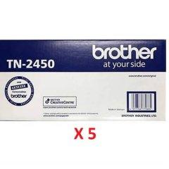 Brother TN-2450 Black Toner Cartridges X 5