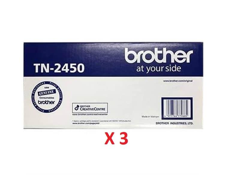 Brother TN-2450 X 3 Black Toner Cartridges (Genuine)