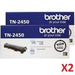 Brother TN-2450 Black X 2 Genuine Toner Cartridges