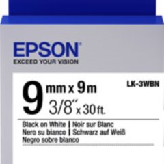Epson [C53S653101] 9mm x 9m Black on White Labels