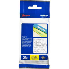 Brother Labels TZe-135 Genuine White Text On Clear Tape 12mm x 8 metres