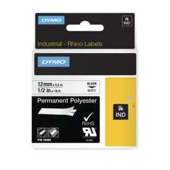 Dymo Rhino 18483 Black on White Label Tape